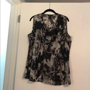 Black and white floral sleeveless top